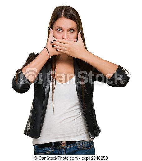 mulher, boca, chocado, dela, cobertura - csp12348253