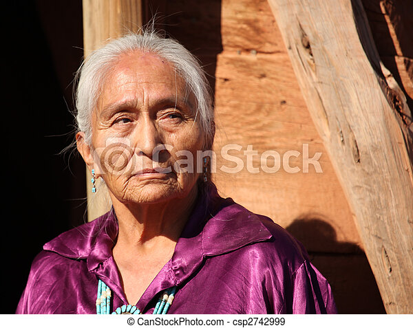 mulher bonita, antigas, idoso, 77, ano, navajo - csp2742999