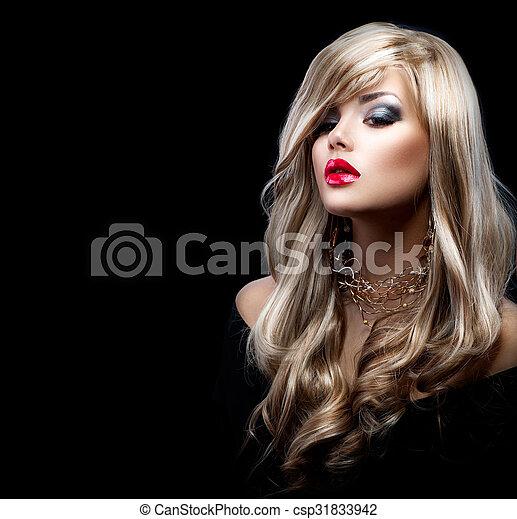 mulher bonita, cabelo longo, excitado, loiro - csp31833942