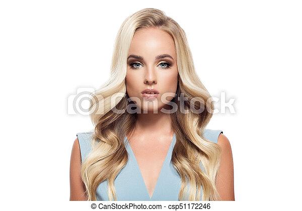 mulher bonita, cacheados, isolado, longo, white., loura, hair. - csp51172246