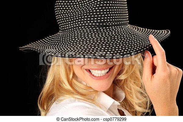 mulher bonita, chapéu - csp0779299