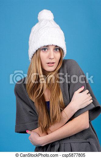 mulher bonita, chapéu, inverno - csp5877805