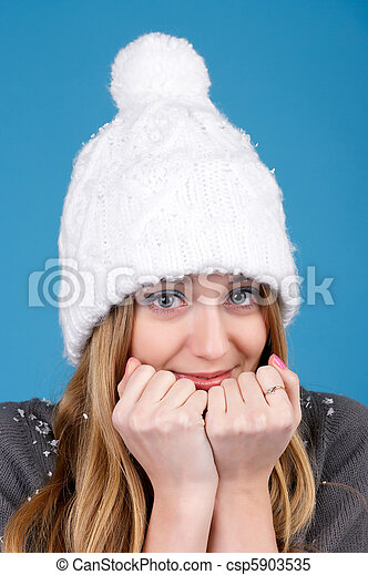 mulher bonita, chapéu, inverno - csp5903535