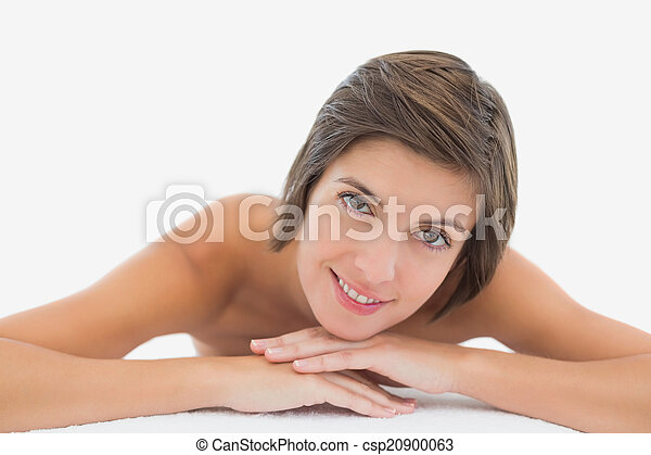 mulher bonita, cima, jovem, fim, retrato, tabela, massagem - csp20900063