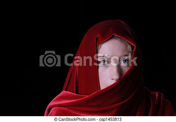mulher bonita, closeup, loura - csp1453813
