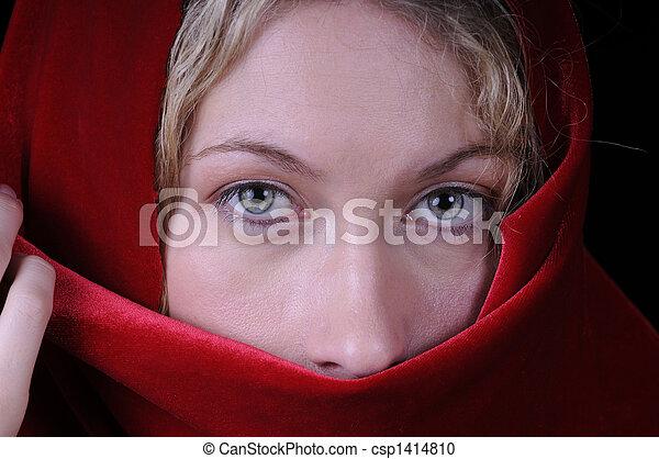 mulher bonita, closeup, loura - csp1414810