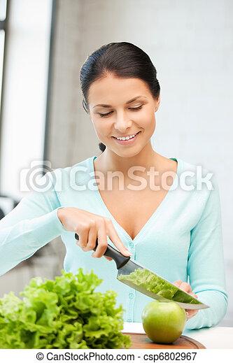 mulher bonita, cozinha - csp6802967