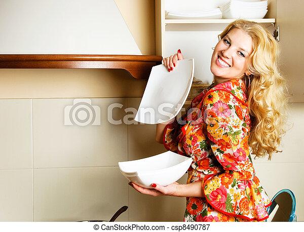 mulher bonita, cozinha - csp8490787