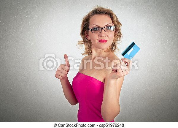 mulher bonita, crédito, loura, vestido, cartão - csp51976248