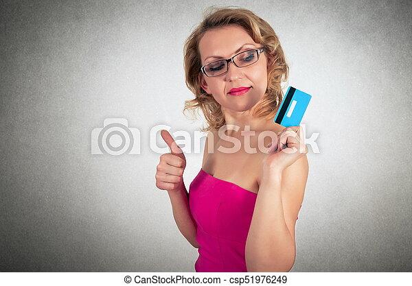 mulher bonita, crédito, loura, vestido, cartão - csp51976249
