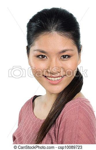 mulher bonita, dela, jovem, asiático, twenties. - csp10089723