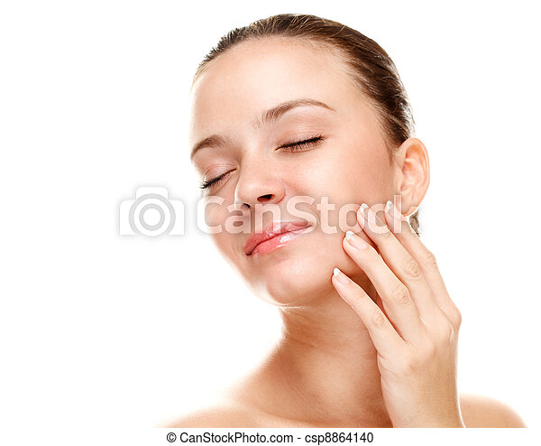 mulher bonita, dela, jovem, skin., tocar - csp8864140