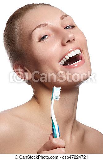 mulher bonita, dental, toothbrush., fundo, cuidado - csp47224721