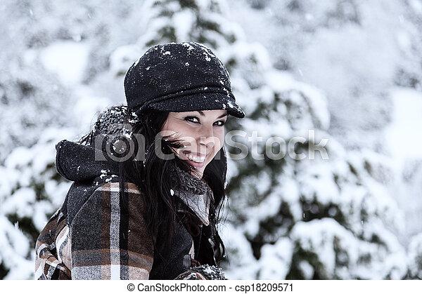mulher bonita, dia, nevado - csp18209571