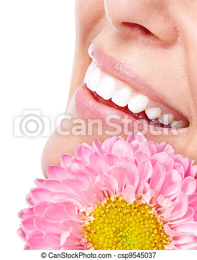 mulher bonita, flower., rosto - csp9545037