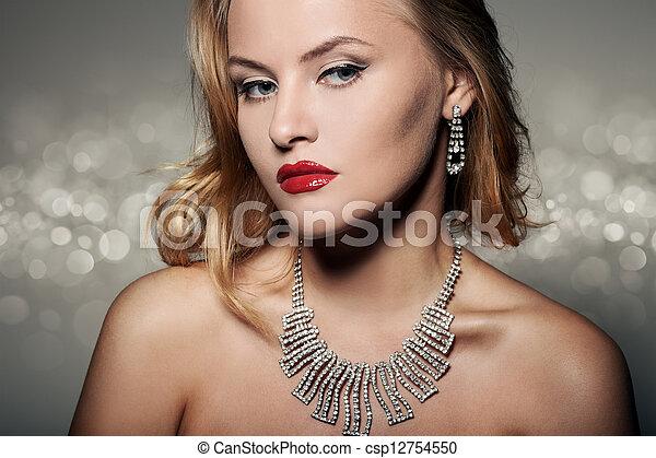 mulher bonita, jóia, moda, luxo, retrato - csp12754550
