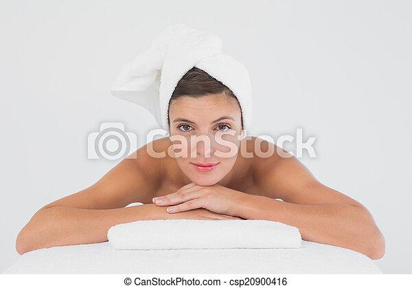 mulher bonita, jovem, retrato, tabela, massagem - csp20900416