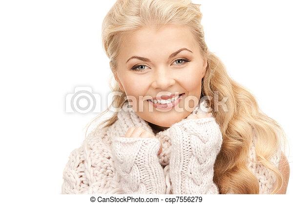 mulher bonita, mittens - csp7556279