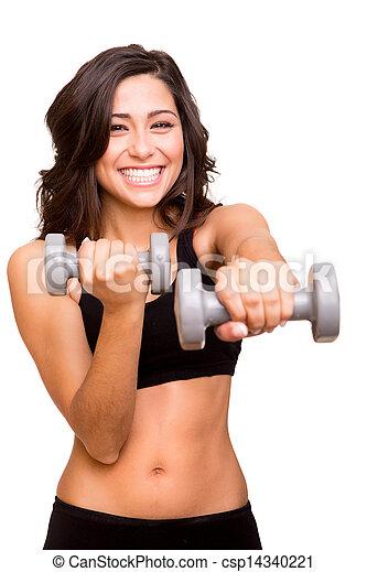 mulher bonita, pesos, levantamento, condicão física - csp14340221