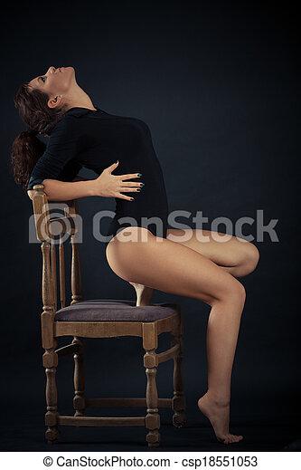 mulher bonita, pretas - csp18551053