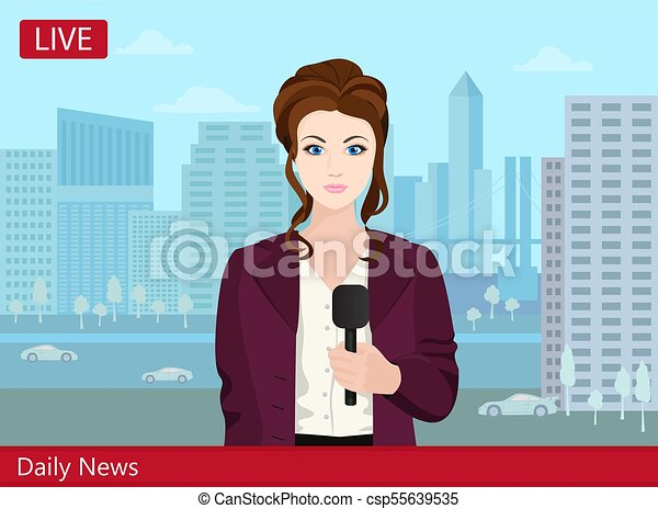 mulher bonita, repórter, tv, jovem, rua., notícia - csp55639535