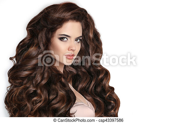 mulher bonita, saudável, isolado, cabelo, ondulado, estúdio, fundo, branca - csp43397586