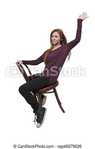 mulher bonita, sentando - csp45079026