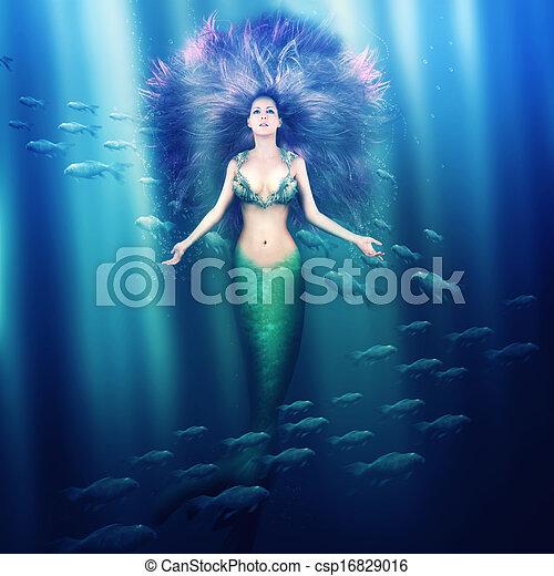 mulher bonita, sereia, mar - csp16829016