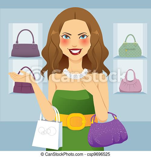 mulher bonita, shopaholic - csp9696525