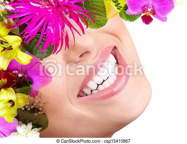 mulher bonita, smile., dentes - csp15410867