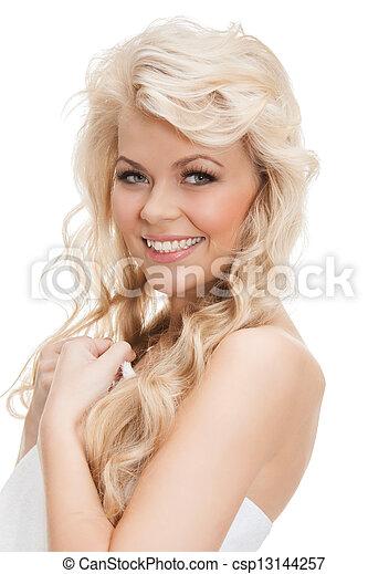 mulher bonita, toalha - csp13144257