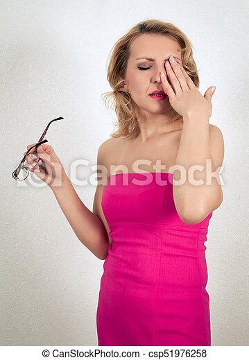 mulher bonita, vestido, loura - csp51976258