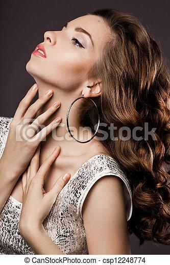 mulher bonita, vestido, prata - csp12248774