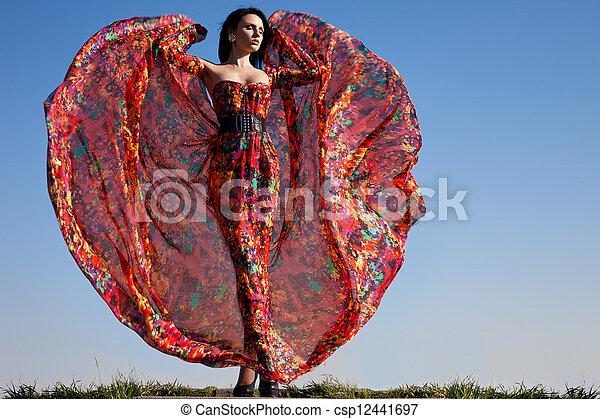 mulher bonita, vestido, vermelho - csp12441697