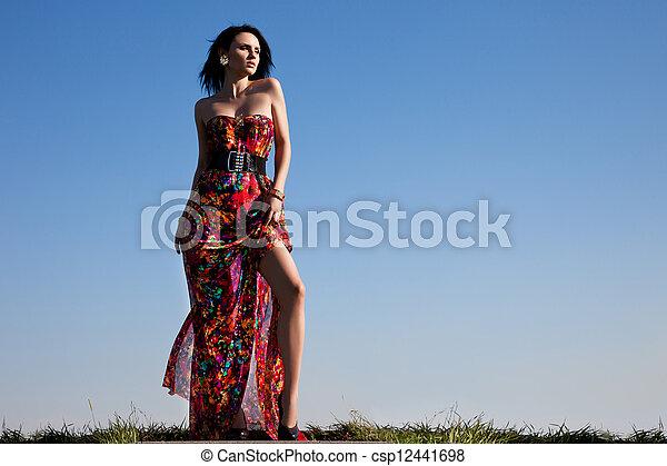 mulher bonita, vestido, vermelho - csp12441698