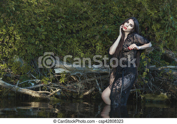 mulher bonita, water. - csp42808323