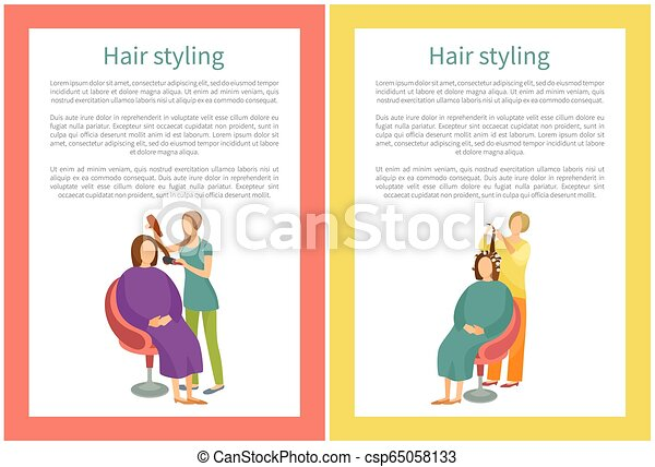 mulher, cabeleireiras, cabelo nomeando, salon., procedimento - csp65058133