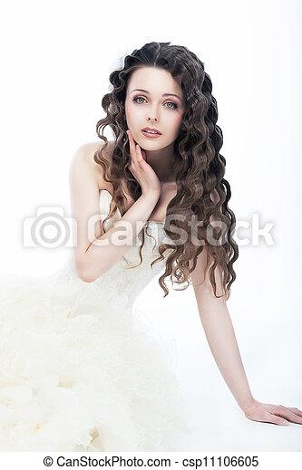 mulher, cacheados, deslumbrante, -, cabelo, noiva, retrato casamento, style. - csp11106605