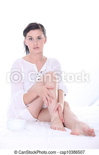 mulher, cama, sentando - csp10386507