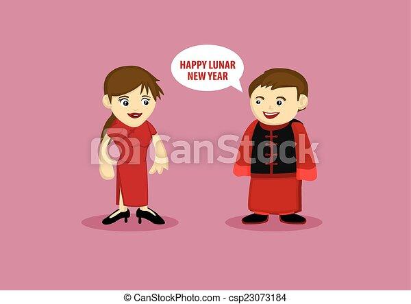 mulher, chinês, tradicional, lunar, durante, ano, homem novo, traje - csp23073184