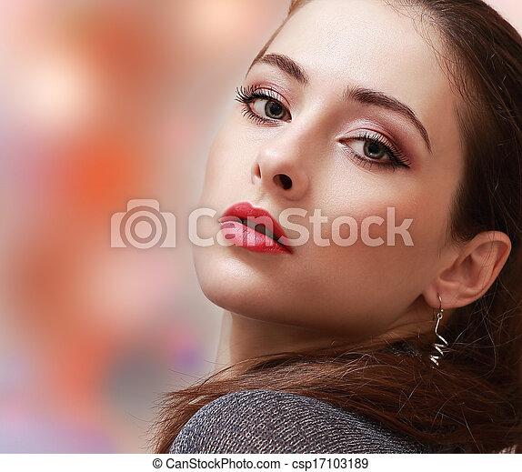mulher, coloridos, maquilagem, experiência., lábios, closeup, excitado, retrato, vermelho - csp17103189