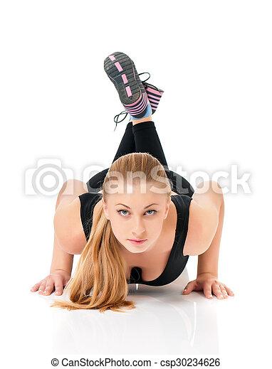 mulher, condicão física - csp30234626