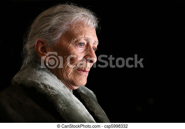mulher, contemplating., isolado, experiência., pretas, retrato, sênior - csp5998332
