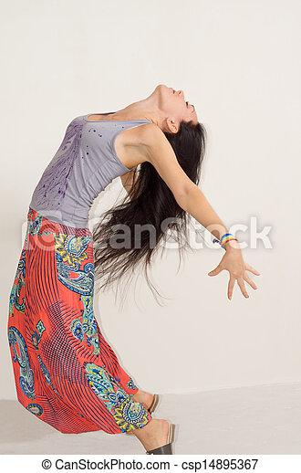mulher, dela, arquear, ágil, jovem, costas - csp14895367