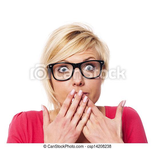 mulher, dela, boca covering, mãos, surpreendido - csp14208238