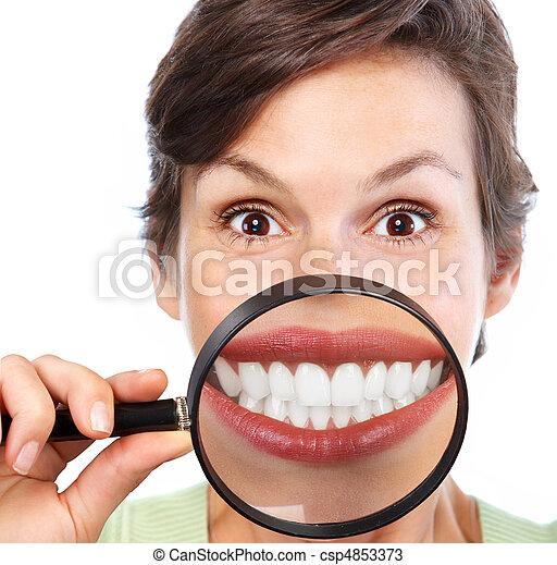 mulher, dentes - csp4853373