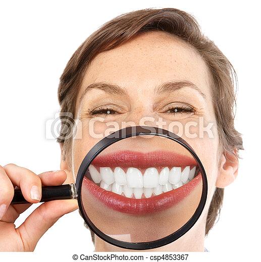 mulher, dentes - csp4853367