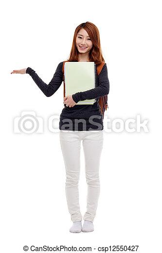mulher, espaço, indicar, asiático, estudante, em branco - csp12550427