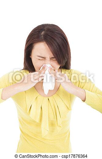 mulher, espirrando, jovem, nariz, gelado, tendo - csp17876364
