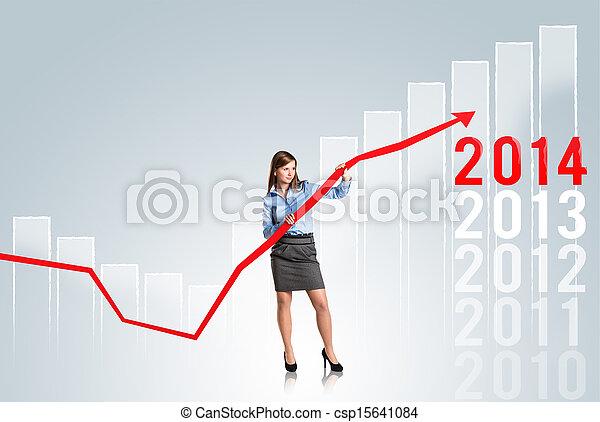 mulher, estatísticas, curva - csp15641084
